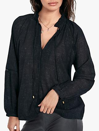 hush Anastasia Lace Trim Blouse, Black Sparkle