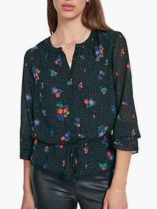hush Pandora Floral Spot Blouse, Flower Dot/Tiny Dot