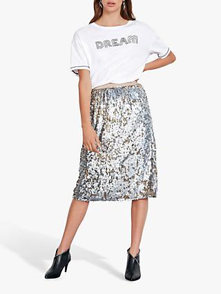 hush Sequin Midi Skirt, Silver