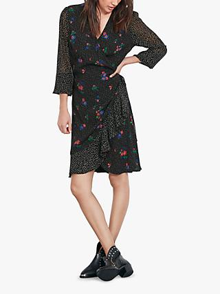 hush Pandora Floral Spot Wrap Dress, Flower Dot/Tiny Floral