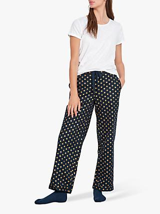 hush Gold Star Flannel Pyjama Trousers, Midnight/Gold