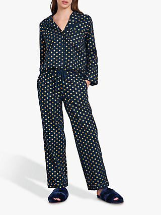 hush Gold Star Flannel Pyjama Set, Midnight/Gold