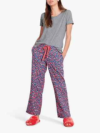 hush Bright Leopard Print Flannel Pyjama Trousers, Red/Multi