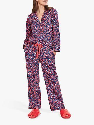 hush Bright Leopard Print Flannel Pyjama Set, Red/Multi