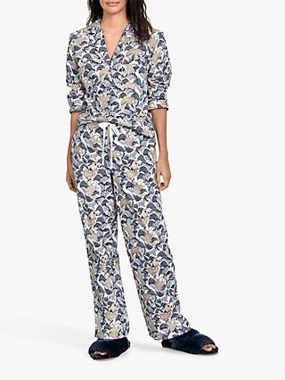 hush Goldfish Flannel Pyjama Set, Ecru/Midnight/Gold