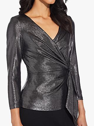 Adrianna Papell Metallic Knot Wrap Top, Black/Gunmetal