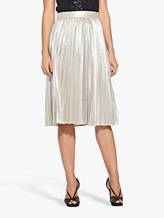 Adrianna Papell Metallic Pleat Skirt, Gold