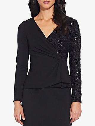 Adrianna Papell Sequin Crepe Top, Black