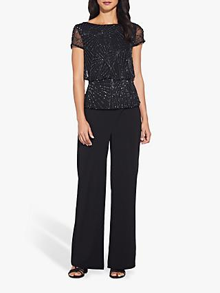 Adrianna Papell Beaded Blouson Top, Black/Gunmetal