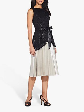 Adrianna Papell Sequin Sleeveless Tie Blouse, Black