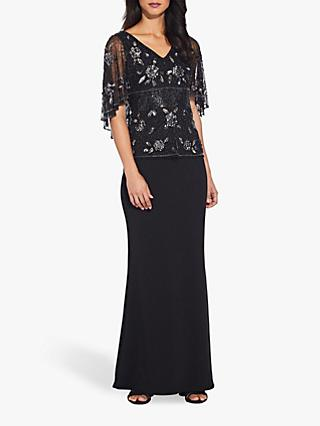 Adrianna Papell Beaded Cape Top, Black/Mercury