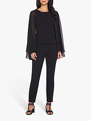 Adrianna Papell Crepe Chiffon Cape Top, Black