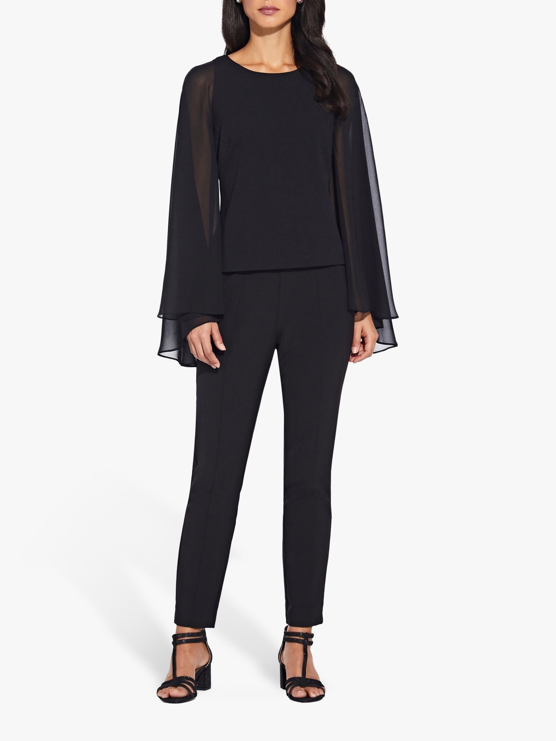 Adrianna Papell Adrianna Papell Crepe Chiffon Cape Top, Black