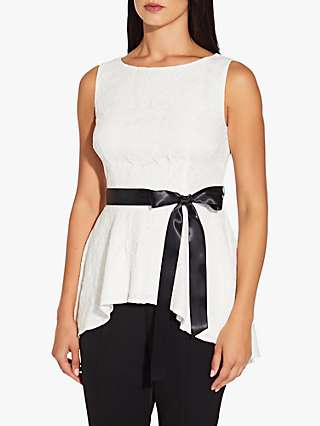 Adrianna Papell Lace Peplum Top, Ivory/Black