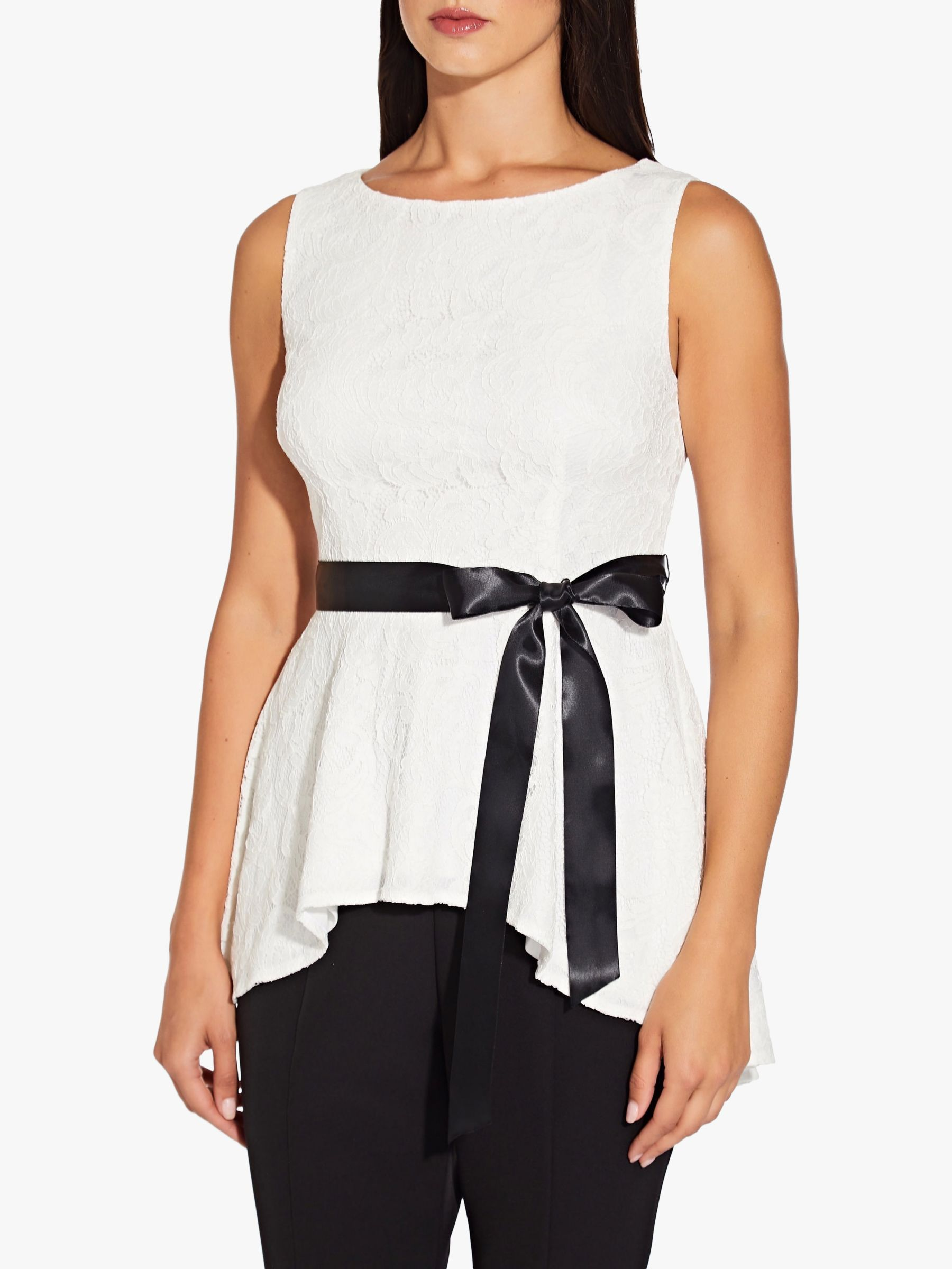 Adrianna Papell Adrianna Papell Lace Peplum Top, Ivory/Black