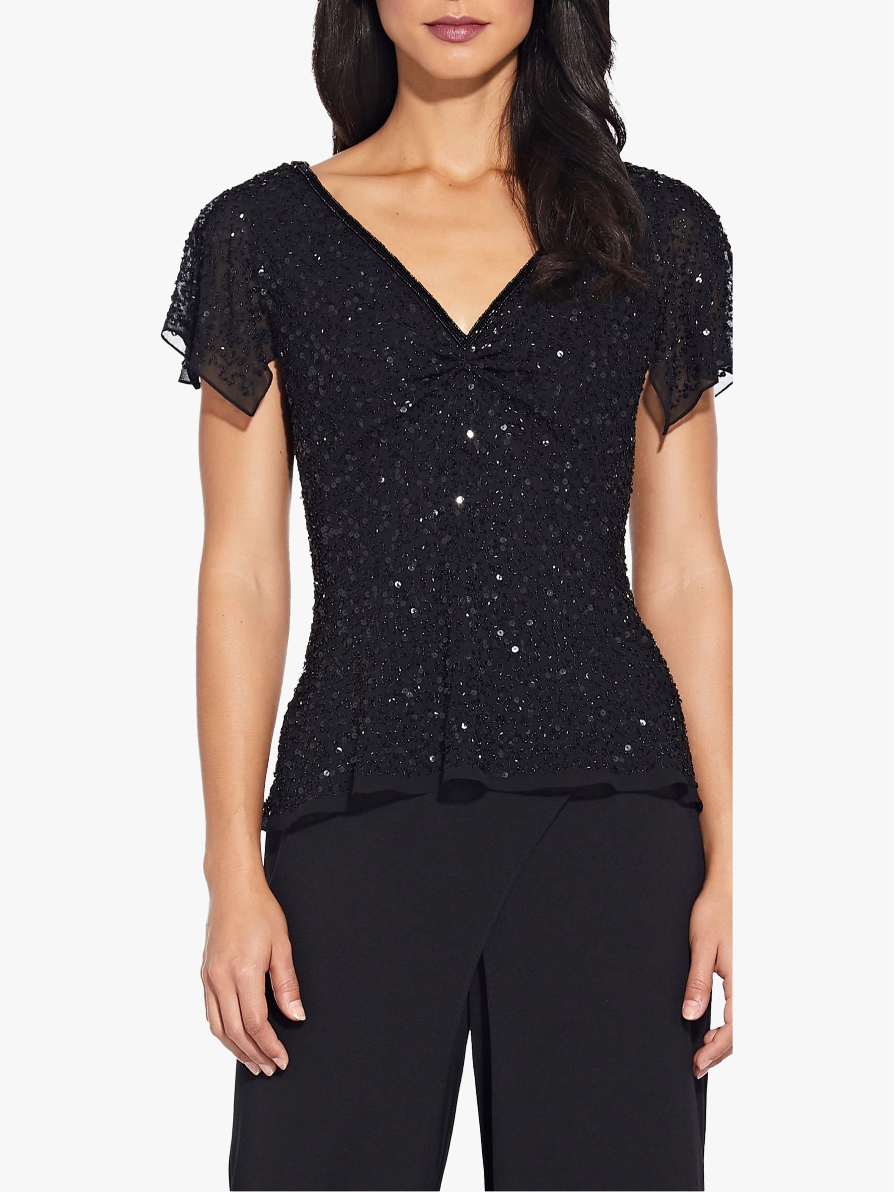 Adrianna Papell Adrianna Papell Dazzling V-Neck Top, Black