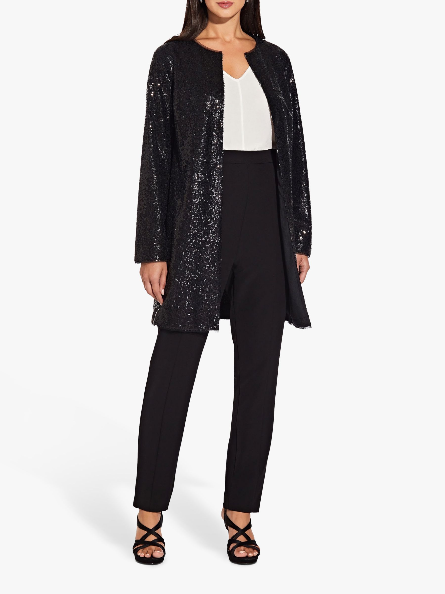Adrianna Papell Adrianna Papell All Over Sequin Coat, Black