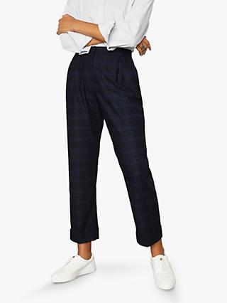 Jigsaw Pleat Turn-Up Trousers, Navy