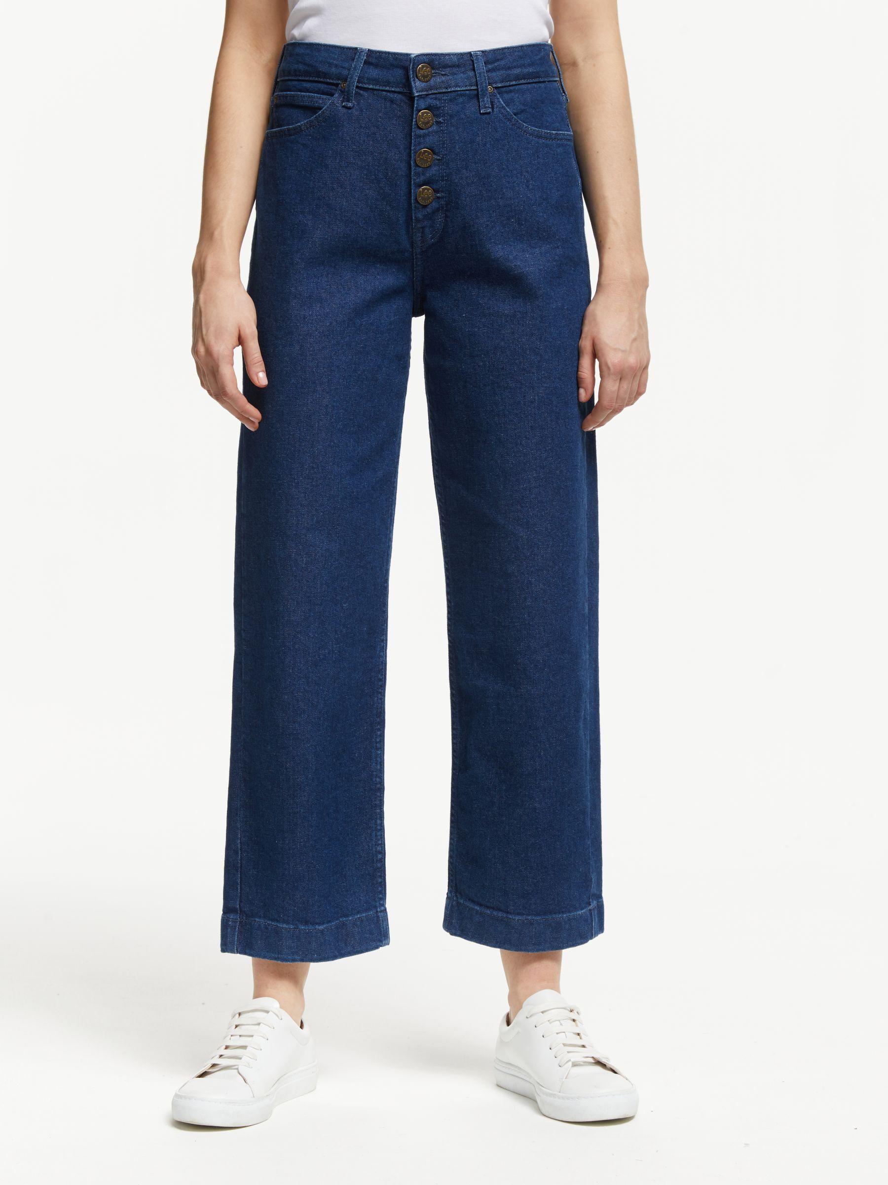 Lee Lee Wide Leg High Waist Cropped Jeans, Dark Wilma