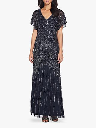 Adrianna Papell Flutter Sleeve Beaded Gown, Midnight