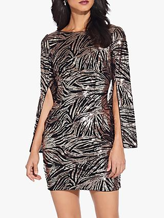 Adrianna Papell Split Sleeve Sequin Dress, Black/Rose Gold