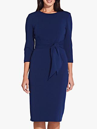 Adrianna Papell Knitted Crepe Sheath Dress, Navy Sateen