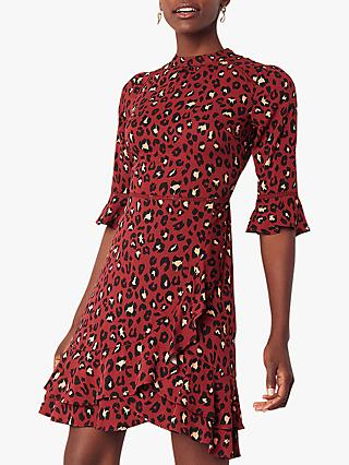 Oasis Belinda Leopard Print Dress, Burgundy