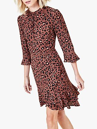 Oasis Leopard Print Skater Dress, Chocolate