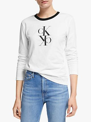 Calvin Klein Jeans Mirrored Monogram Top, Bright White