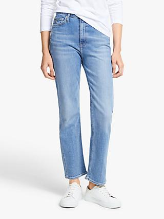 Calvin Klein High Rise Straight Leg Ankle Jeans, Mid Blue