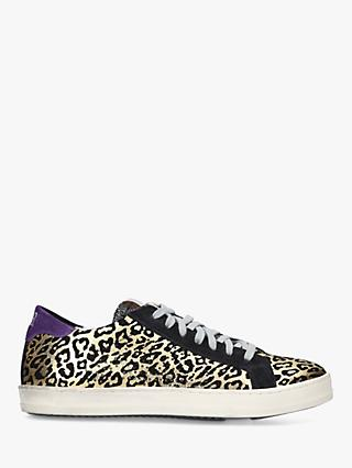 P448 F9 John Lace Up Leopard Print Trainers, Gold