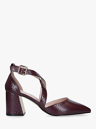 Carvela Koko Two Part Block Heel Court Shoes, Red WIne