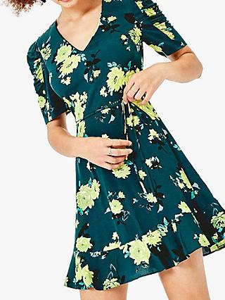 Oasis Floral Jersey Dress, Green/Multi