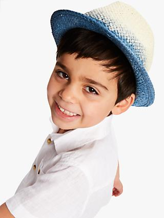 John Lewis & Partners Children's Ombre Straw Trilby Hat, Natural