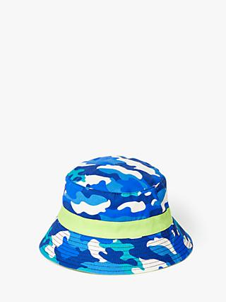 John Lewis & Partners Children's Camo Reversible Sun Hat, Blue