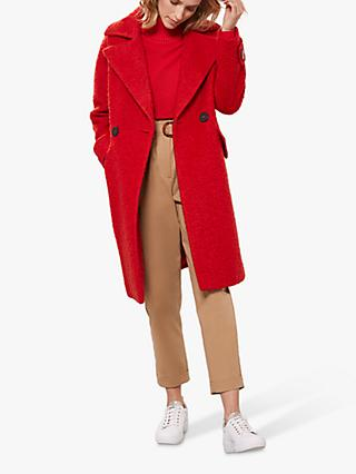 Mint Velvet Boucle Cocoon Coat, Red