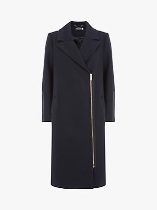 Mint Velvet Leather Detail Zip Coat, Navy
