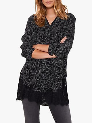 Mint Velvet Spotted Lace Hem Shirt, Black