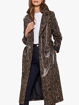 Mint Velvet Faux Snake Leather Trench Coat, Multi