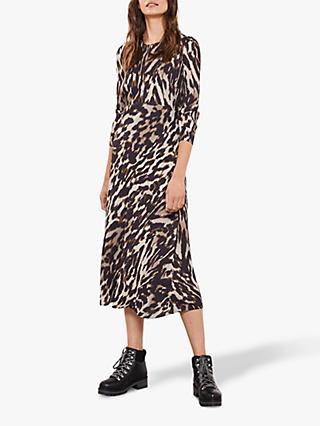 Mint Velvet Josie Leopard Print Midi Dress, Multi