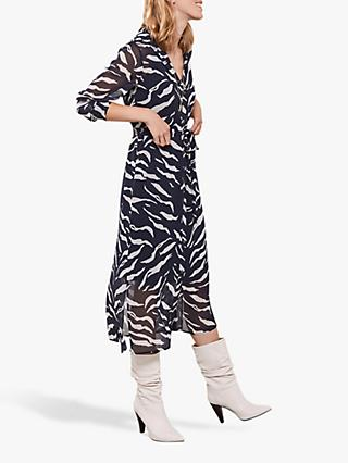 Mint Velvet Nadine Zebra Belted Midi Dress, Multi