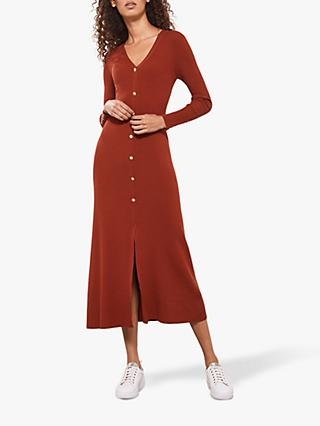Mint Velvet V-Neck Midi Jumper Dress, Rust