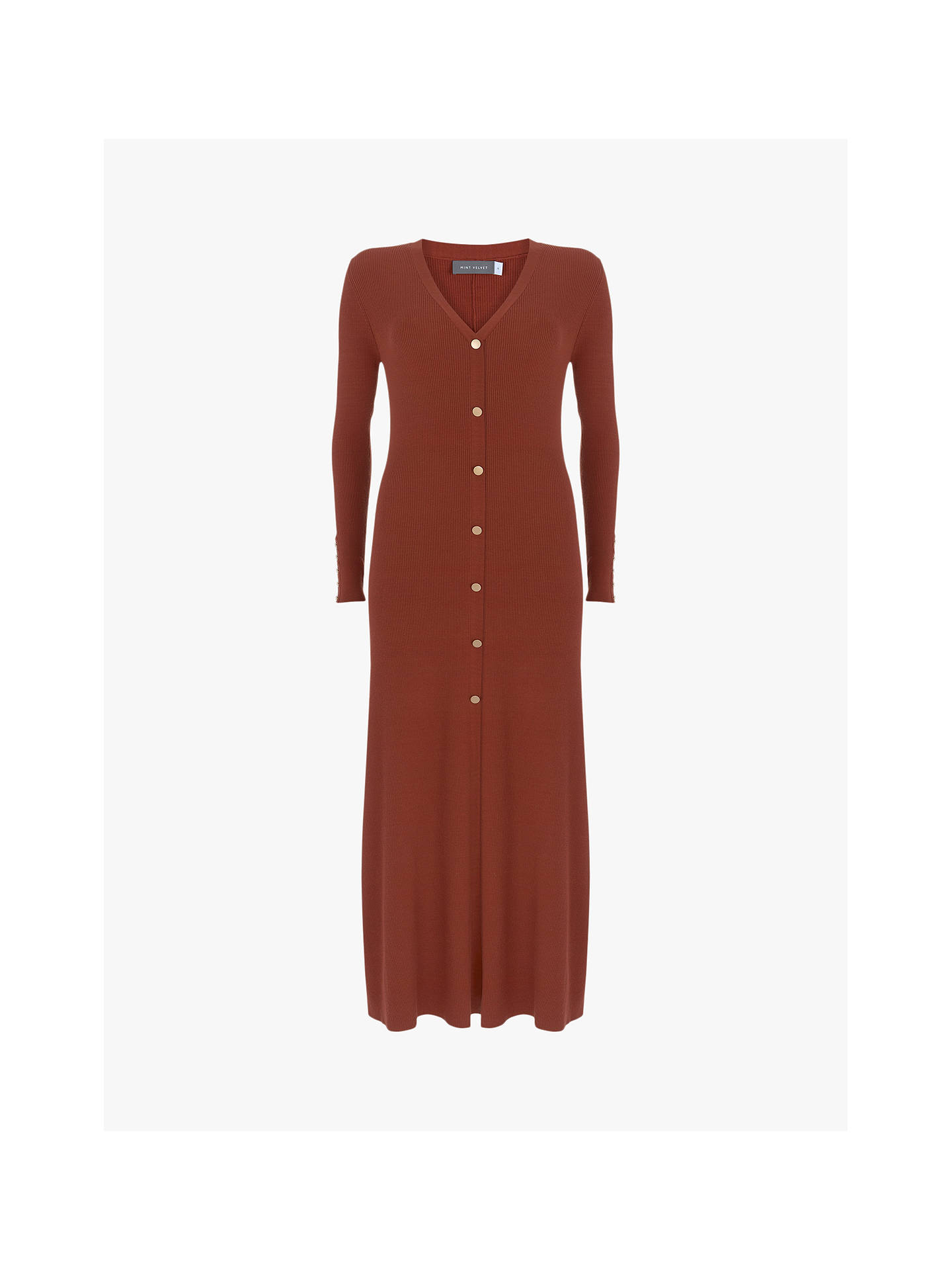 Buy Mint Velvet V-Neck Midi Jumper Dress, Rust, XS Online at johnlewis.com