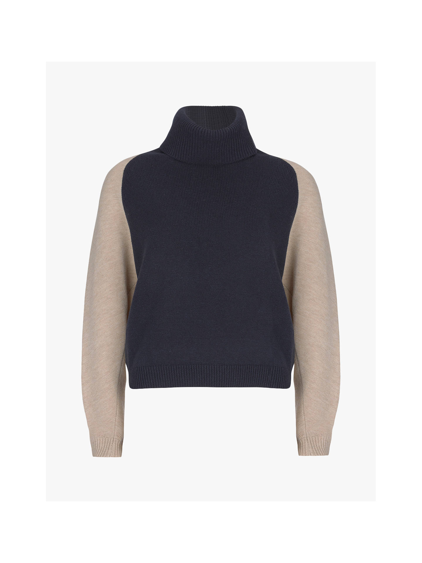Buy Mint Velvet Roll Neck Blocked Jumper, Navy & Camel, XS Online at johnlewis.com