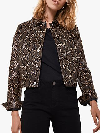 Mint Velvet Snake Faux Leather Crop Jacket, Multi