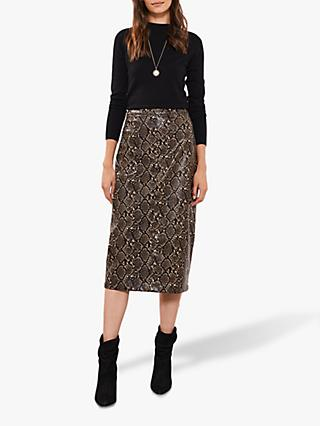 Mint Velvet Snake Faux Leather Midi Skirt