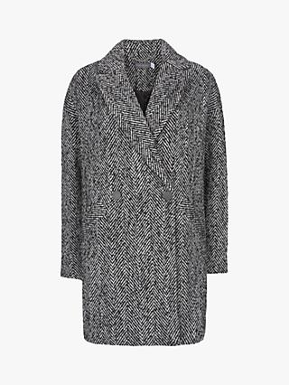 Mint Velvet Herringbone Cocoon Coat, Grey