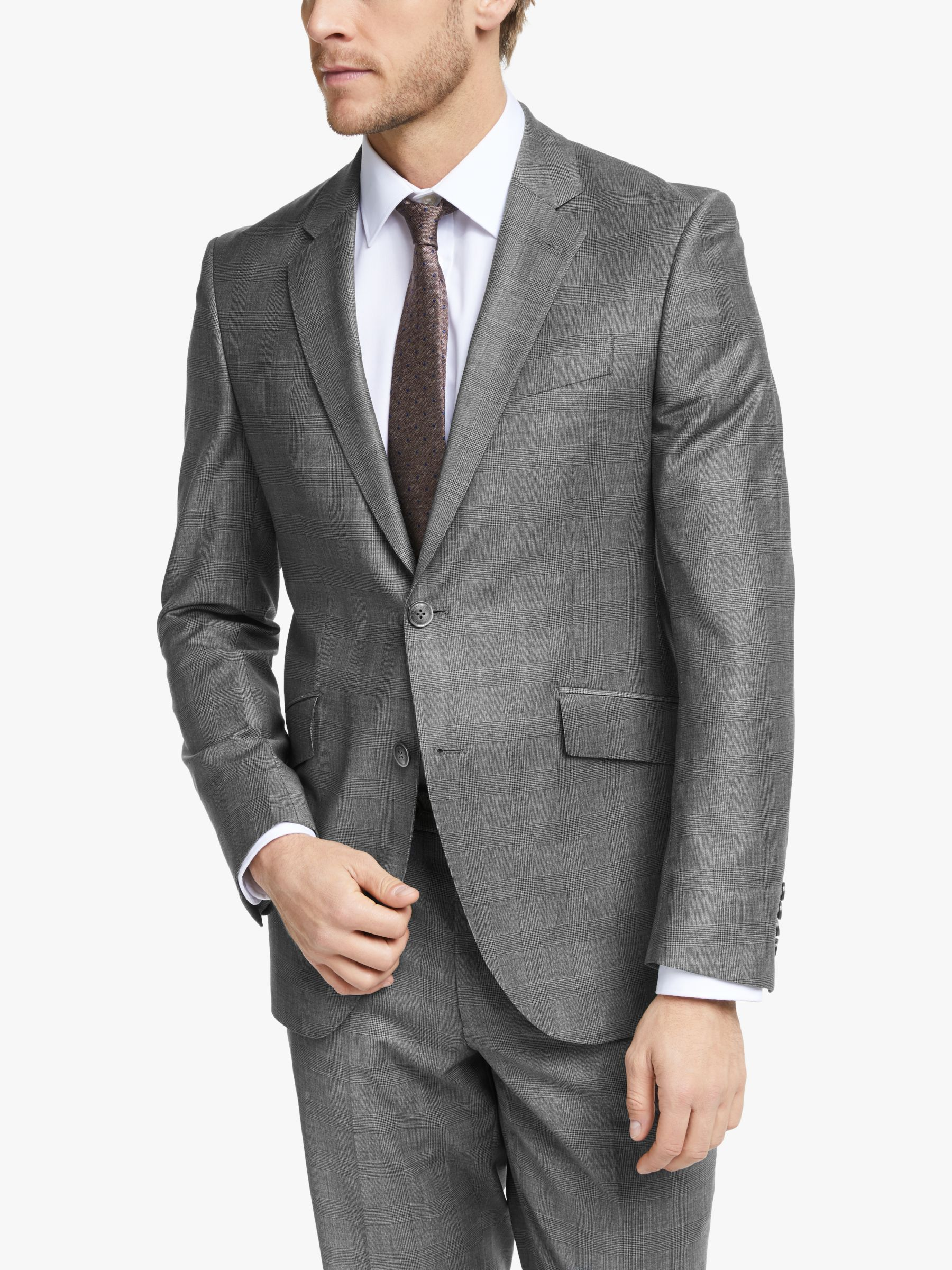 Hackett London Hackett London Prince of Wales Check Slim Fit Suit Jacket, Grey