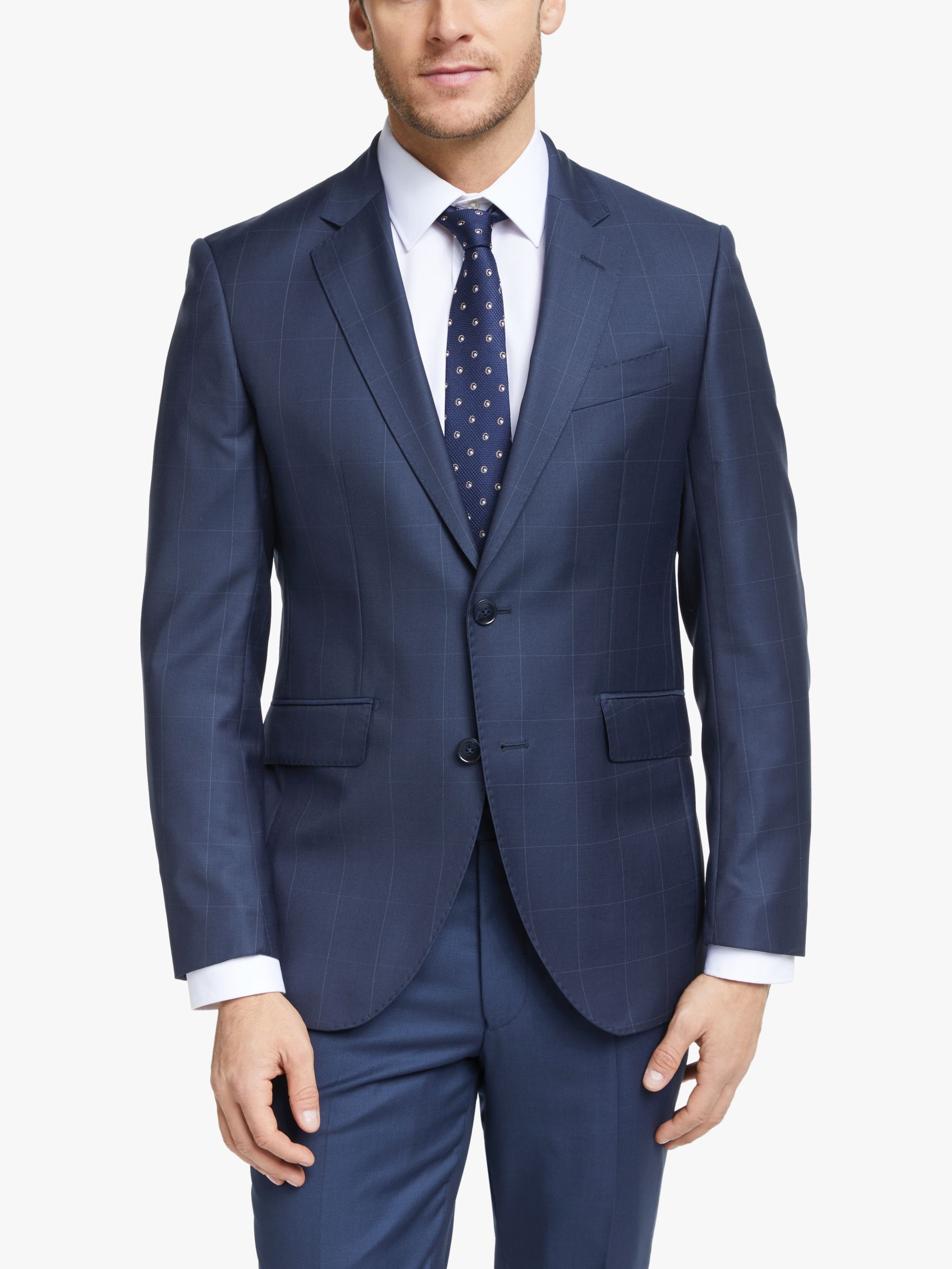 Hackett London Hackett London Windowpane Check Slim Fit Suit Jacket, Navy