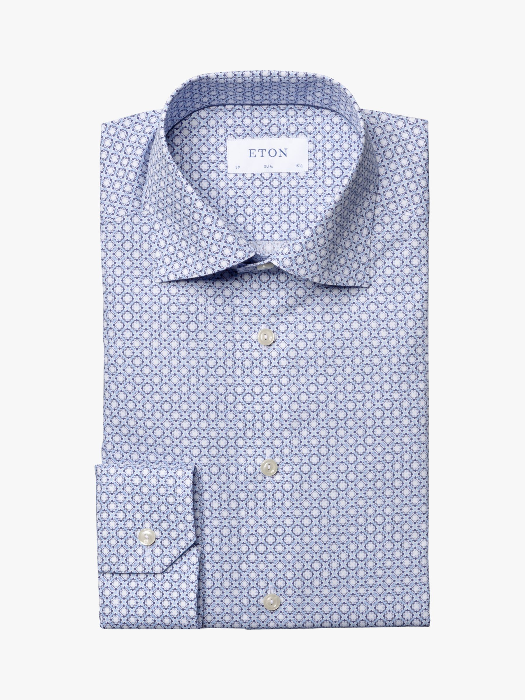 Eton Eton Mosaic Print Slim Fit Shirt, Blue